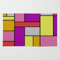 mondrian Area & Throw Rugs featuring Mondrian #6 by Ron Trickett