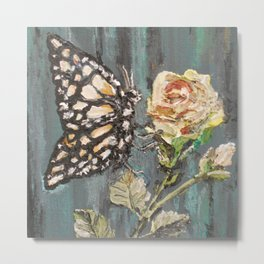 Butterfly on Rose Metal Print