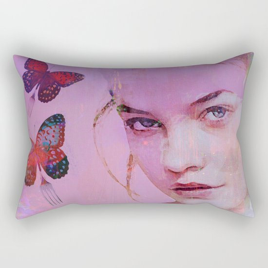 Isabelle and butterflies fork Rectangular Pillow