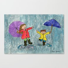 Puddle Jumping Kids Canvas Print
