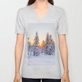 Winter wonderland sunset snow forest landscape Unisex V-Neck
