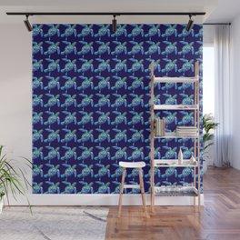Sea Turtle Pattern Blue Wall Mural