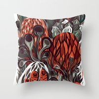 mushrooms Throw Pillows featuring Mushrooms by pam wishbow