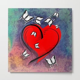 Abstract heart and butterflies on opalescent textured background Metal Print