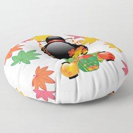 Japanese Fall Kokeshi Doll Floor Pillow