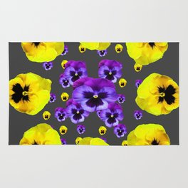 YELLOW & PURPLE PANSY FLOWERS FLOATING ON CHARCOAL Rug