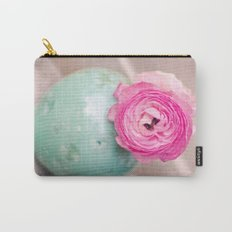 Hot pink ranunculus flowers mint green vintage 1 Carry-All Pouch