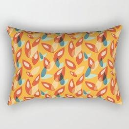 Orange Blue Yellow Abstract Autumn Leaves Pattern Rectangular Pillow