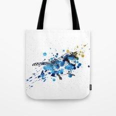 Splattered Blue jay Tote Bag