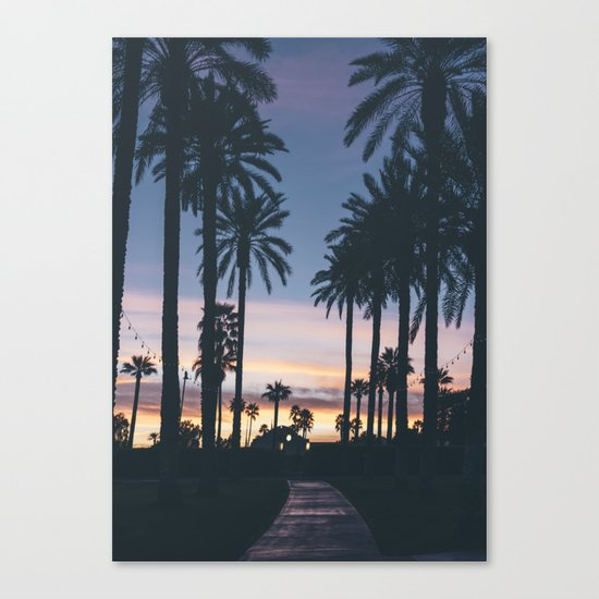 Sunset in the City (Hawaii Tropical Palm Trees) Canvas Print