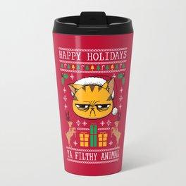 Ugly Holiday Sweater Cat Travel Mug
