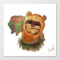 ewok Canvas Prints featuring Ewok Christmas by aduahc