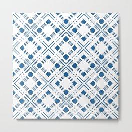 Blue and white geometric pattern . Metal Print