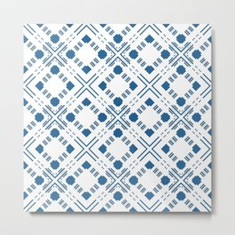 Blue and white geometric ornament decorative pattern cages rhombus Metal Print