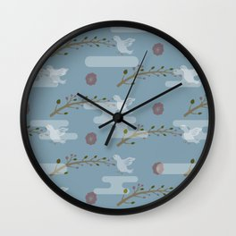 Plum Flower, Young Branch and Bird in the Mist Inspired by Japanese Pattern Wall Clock
