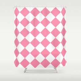Large Diamonds - White and Flamingo Pink Shower Curtain