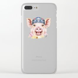 Watercolor Cool Pig Clear iPhone Case