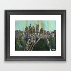 Earth-tone Philly Skyline Framed Art Print