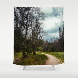 road in a forest Shower Curtain