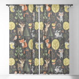 Cute Colorful Wood Animals In Forest Sheer Curtain