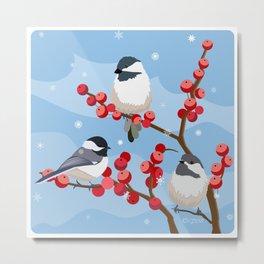 Berries in the Snow Metal Print