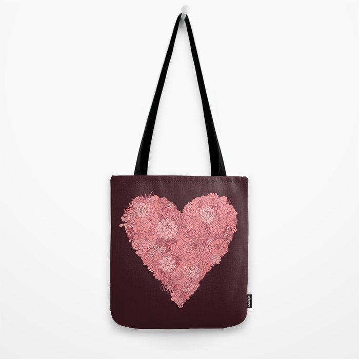 Pink Succulent Heart Tote Bag