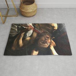 Judith beheading Holofernes, Caravaggio, baroque painting, italian painter Rug