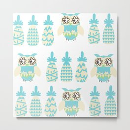 Owls and pineapples Metal Print