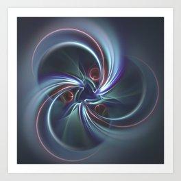 Moons Fractal in Cool Tones Art Print