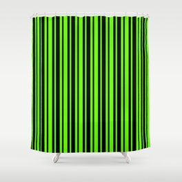 Bright Green and Black Vertical Var Size Stripes Shower Curtain