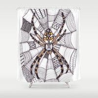 spider Shower Curtains featuring Spider by Laura Maxwell