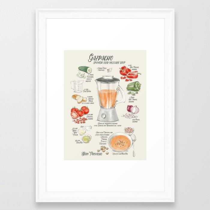 Gazpacho illustrated recipe in English Framed Art Print