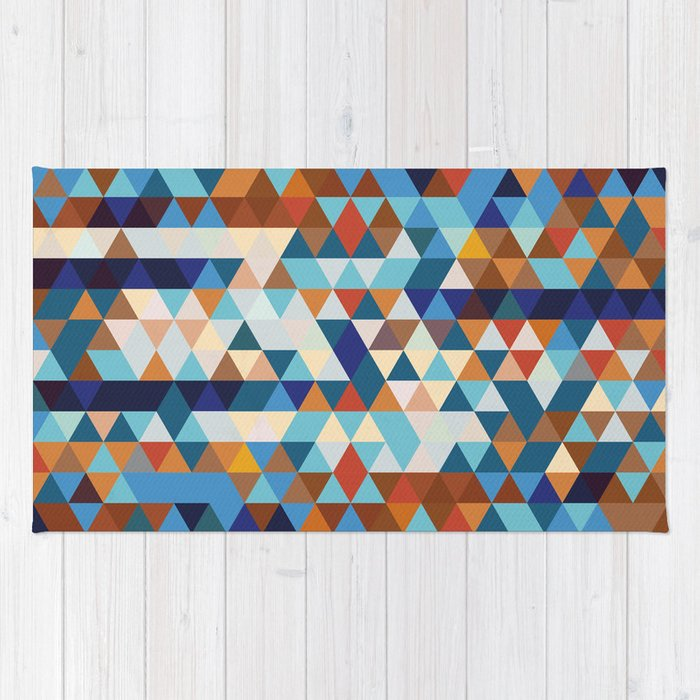 Geometric Triangle Blue, Brown  - Ethnic Inspired Pattern Rug