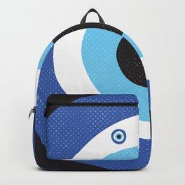 Blue Evil Eye Symbol Lucky Charm Black Background Backpack