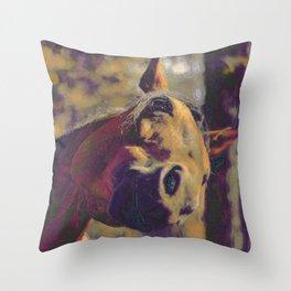 Curious Horse I Throw Pillow