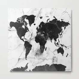 world map marble 3 Metal Print