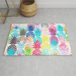 Hawaiian Pineapple Pattern Tropical Watercolor Rug