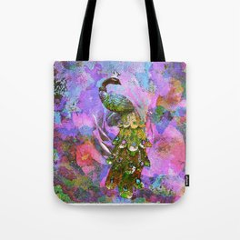 Peacock Watercolor Tote Bag