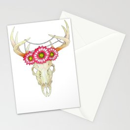 Deer Skull, pearls and Flowers Stationery Cards