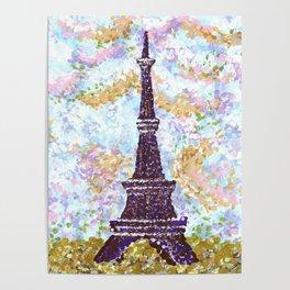 Eiffel Tower Pointillism by Kristie Hubler Poster