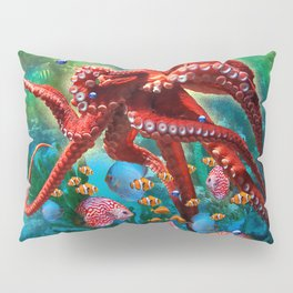 Red Octopus with Fish Pillow Sham