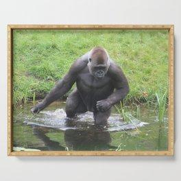 Gorilla Entering A Small Lake Serving Tray