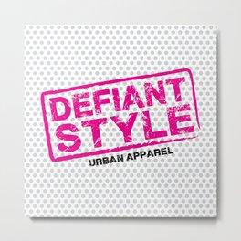 Defiant Style Logo [Pink/Black] Metal Print