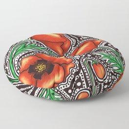 Poppy Zentangle Floor Pillow