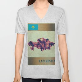 Kazakhstan Map with Flag Unisex V-Neck
