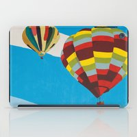 hot air balloons iPad Cases featuring Three Hot Air Balloons by Shelley Chandelier