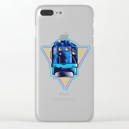 Retro Neon 80s Train Gift Locomotive Freight Train Railway Gift Clear iPhone Case