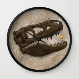 Tyrannosaurus Rex with Orange to scale Wall Clock
