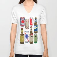beer V-neck T-shirts featuring Beer by Jennifer Epstein