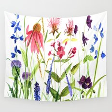 Botanical Colorful Flower Wildflower Watercolor Illustration Wall Tapestry